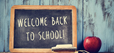 a chalkboard with the text welcome back to school written in it, a piece of chalk, an eraser and a red apple on a rustic wooden table, cross processed
