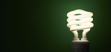 An energy saving light bulb on a green background.